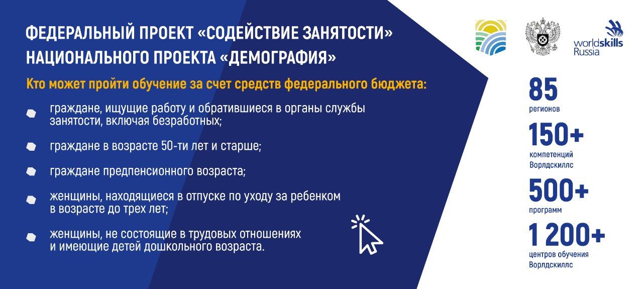 Федеральный проект Содействие занятости национального проекта Демография